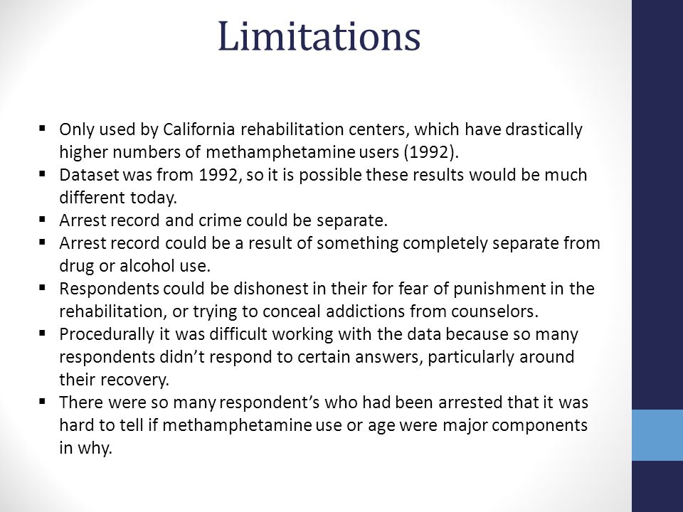 Limitations Only used by California rehabilitation centers, which have drastically higher numbers of methamphetamine users (1992).
