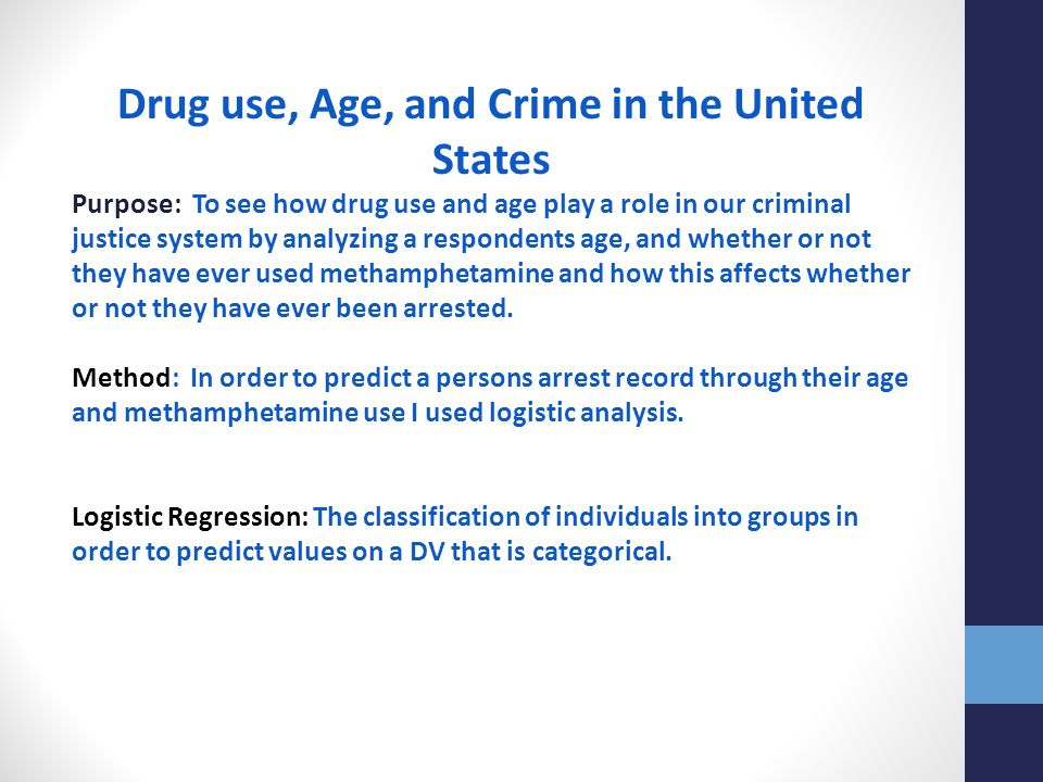 Drug use, Age, and Crime in the United States