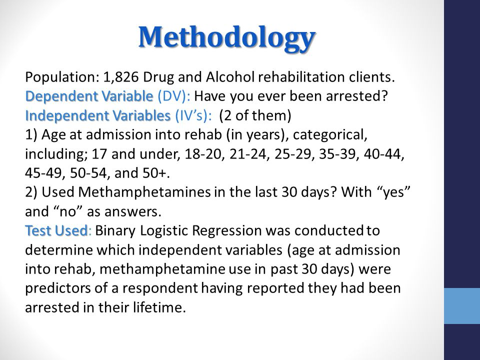 Methodology Population: 1,826 Drug and Alcohol rehabilitation clients.