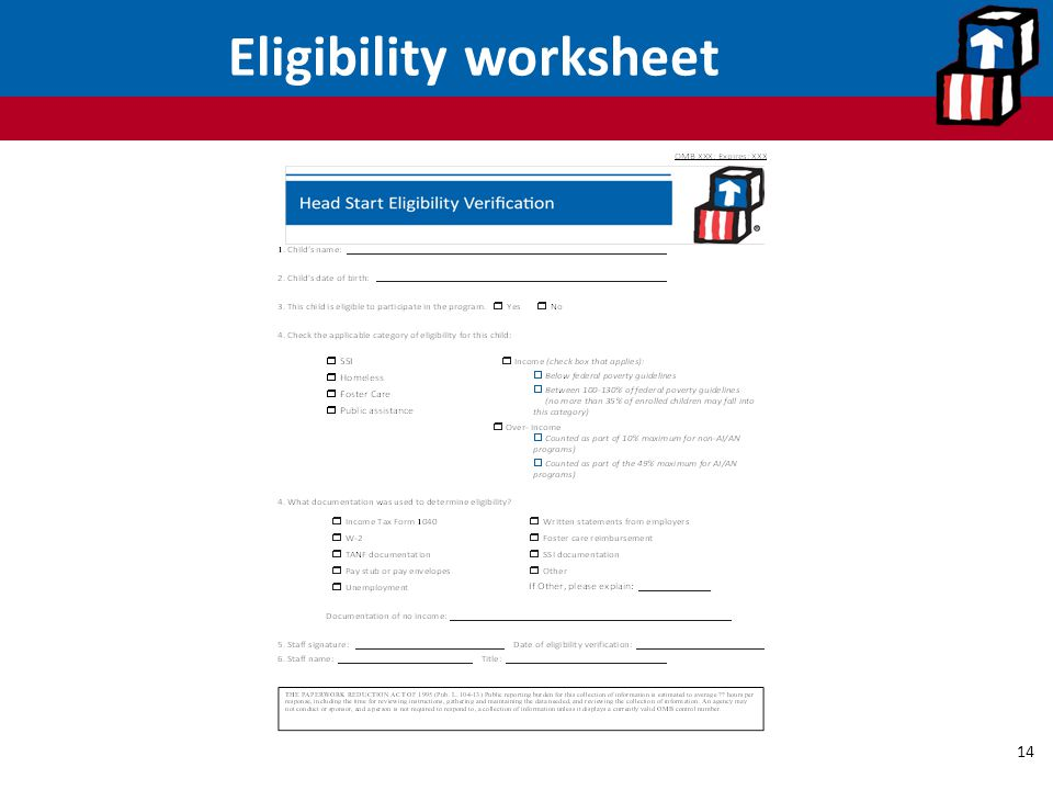 Eligibility worksheet
