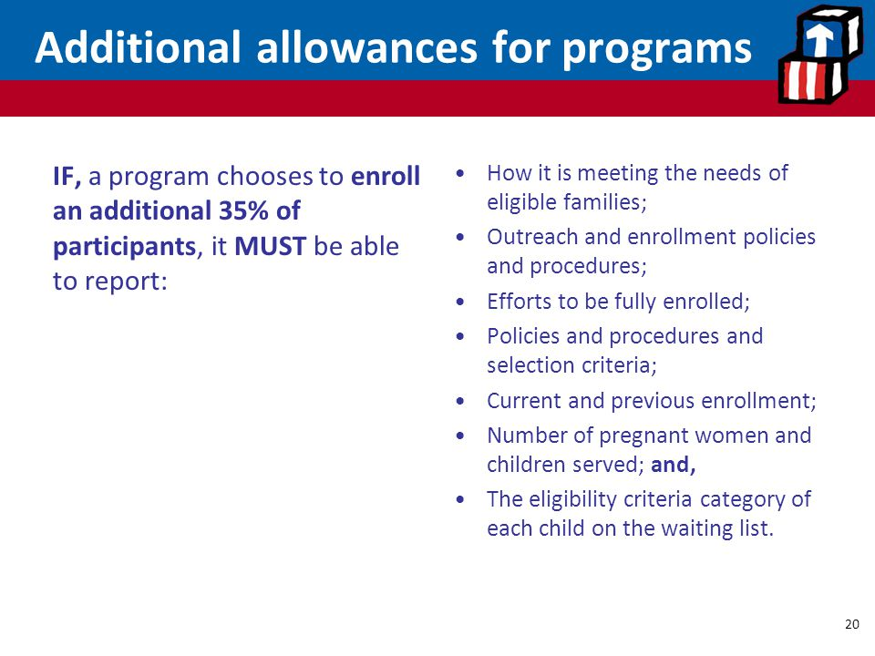 Additional allowances for programs