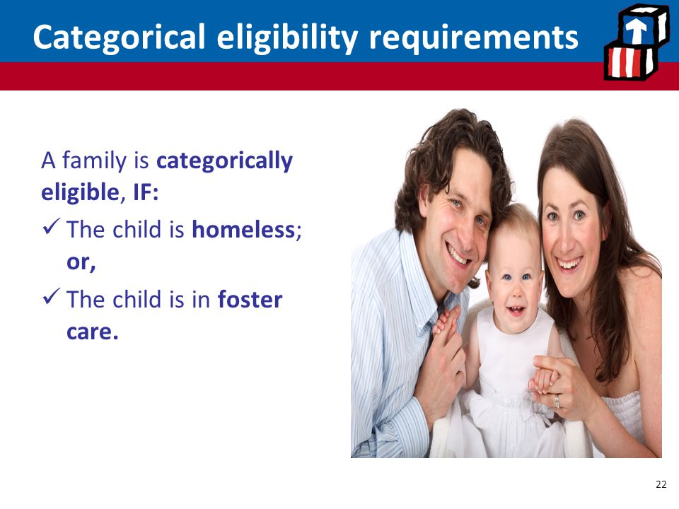 Categorical eligibility requirements
