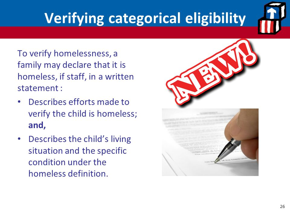Verifying categorical eligibility