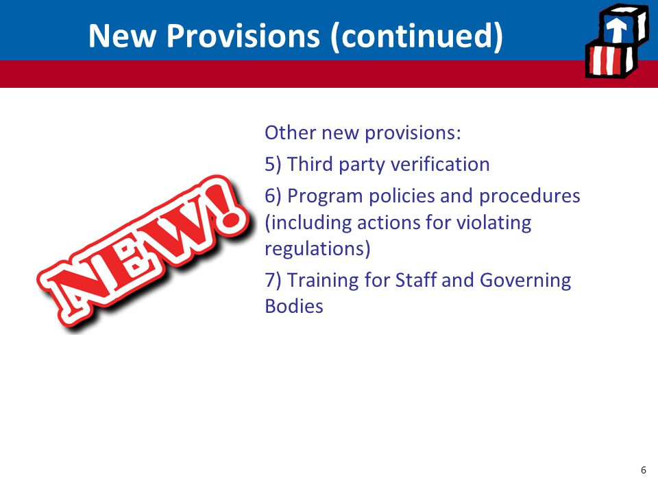New Provisions (continued)