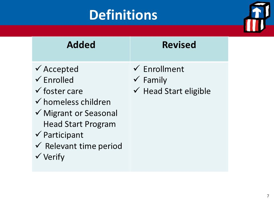 Definitions Added Revised Accepted Enrolled foster care