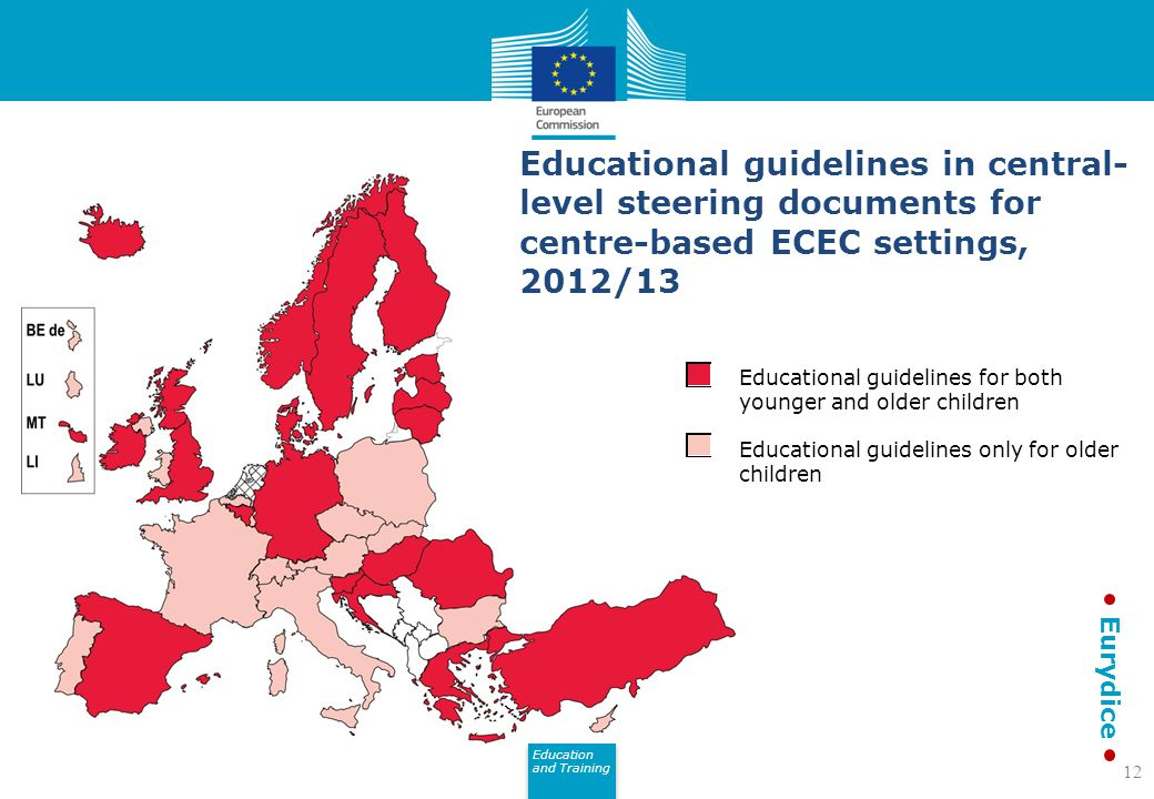 Educational guidelines in central-level steering documents for centre-based ECEC settings, 2012/13