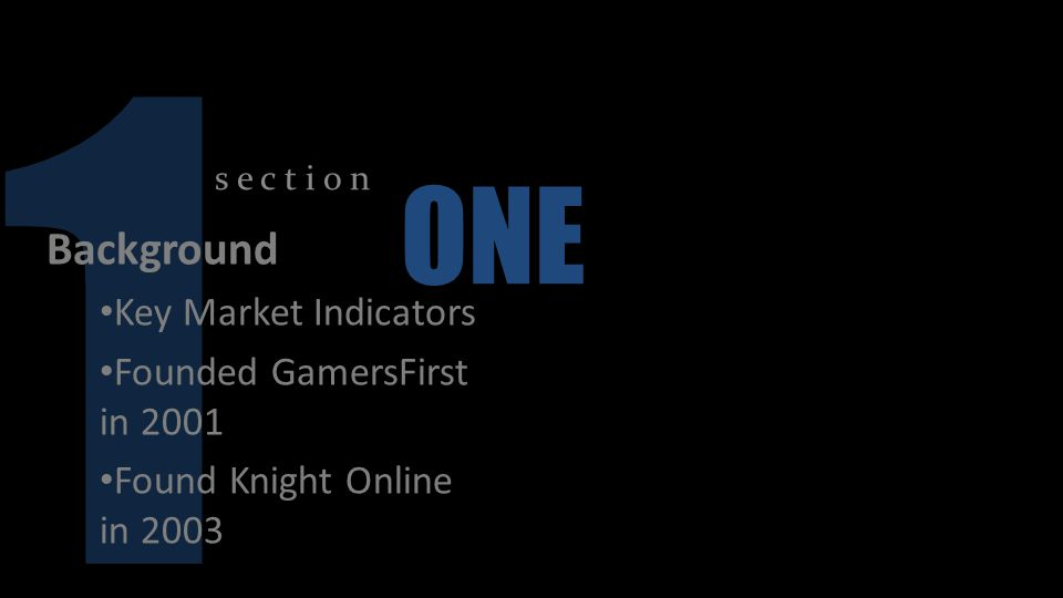 1 ONE Background Key Market Indicators Founded GamersFirst in 2001