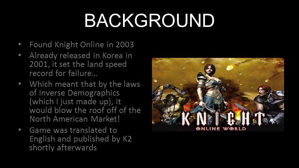 BACKGROUND Found Knight Online in 2003