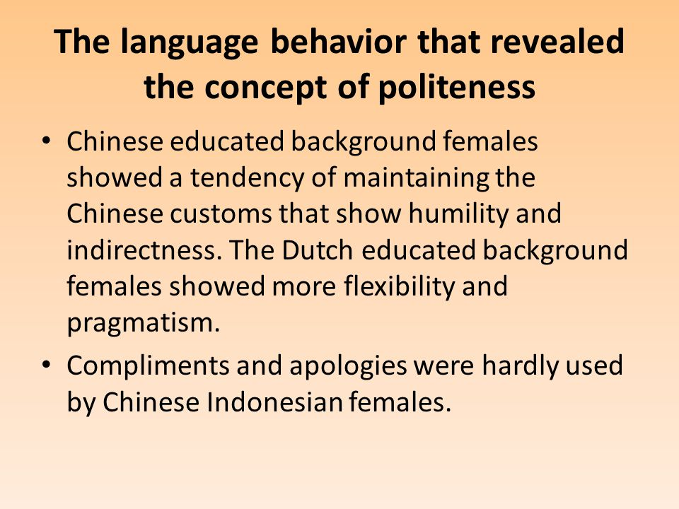 The language behavior that revealed the concept of politeness