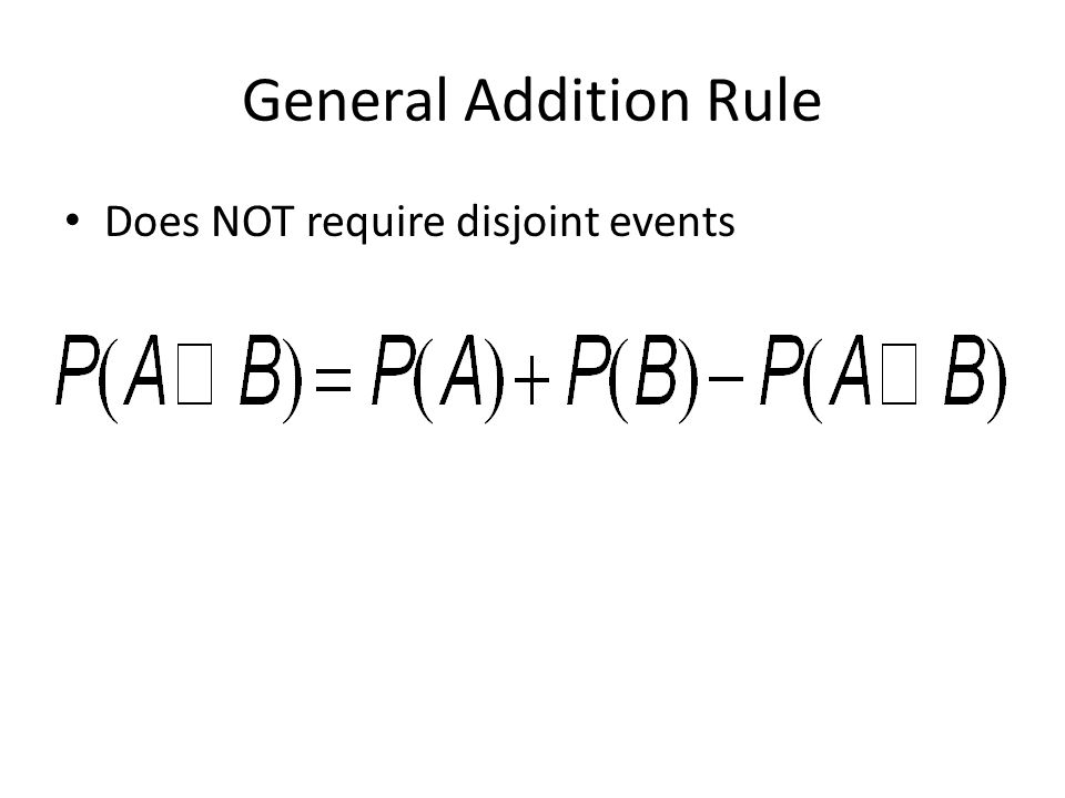 General Addition Rule Does NOT require disjoint events