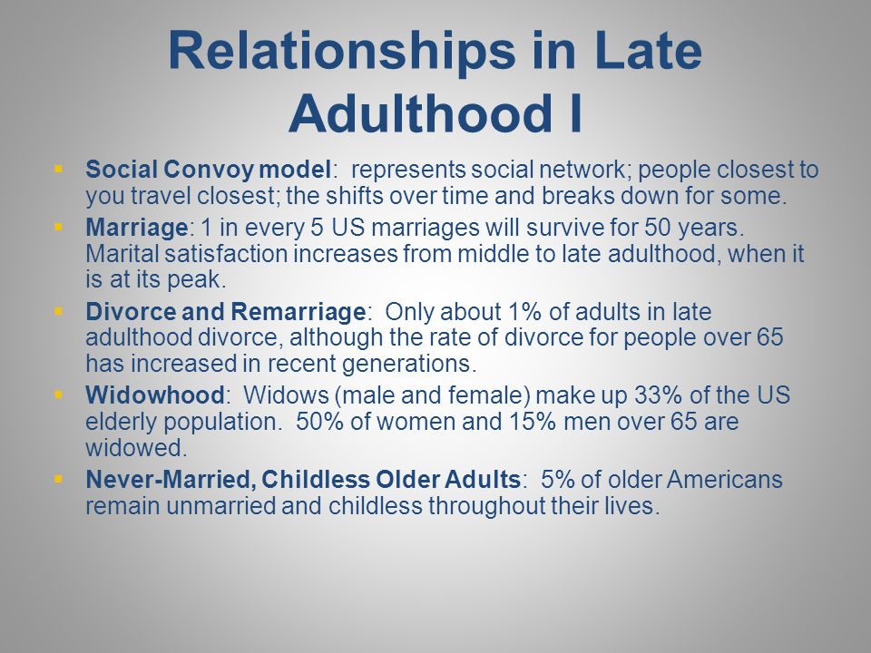 Relationships in Late Adulthood I