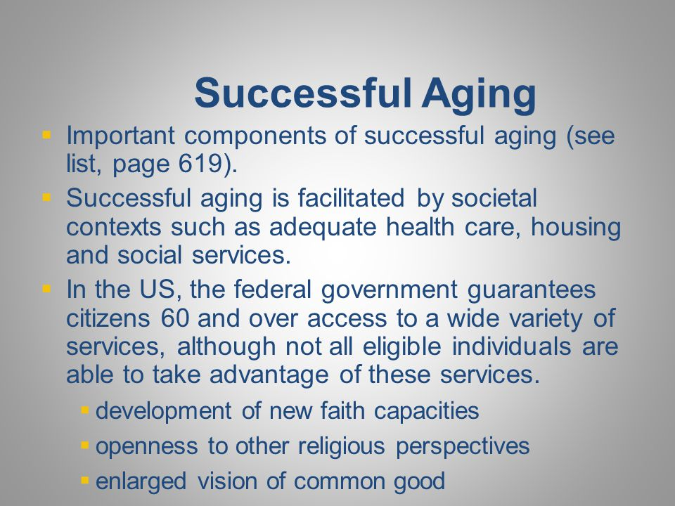 Successful Aging Religious involvement associated with
