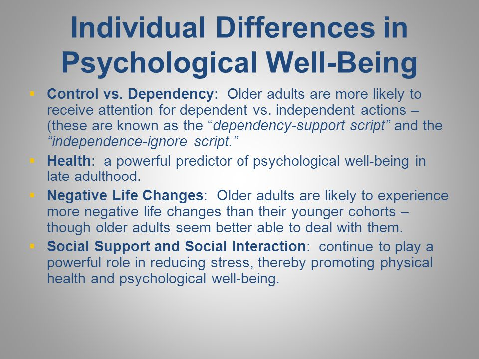 Individual Differences in Psychological Well-Being