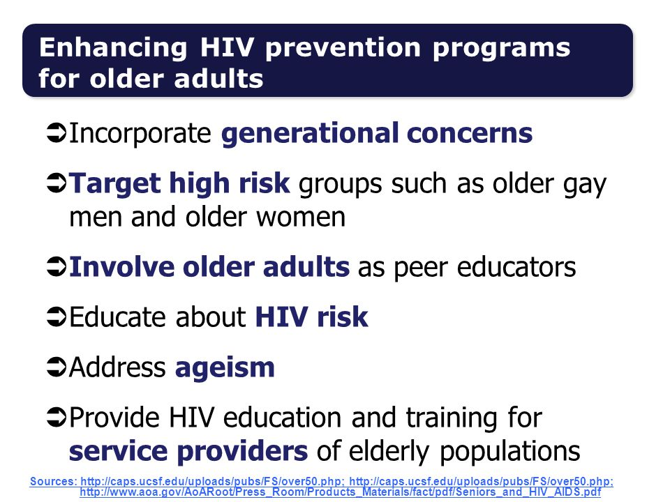 Enhancing HIV prevention programs for older adults