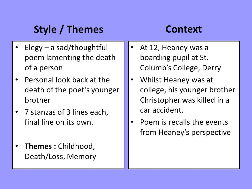 Style / Themes Context. Elegy – a sad/thoughtful poem lamenting the death of a person.