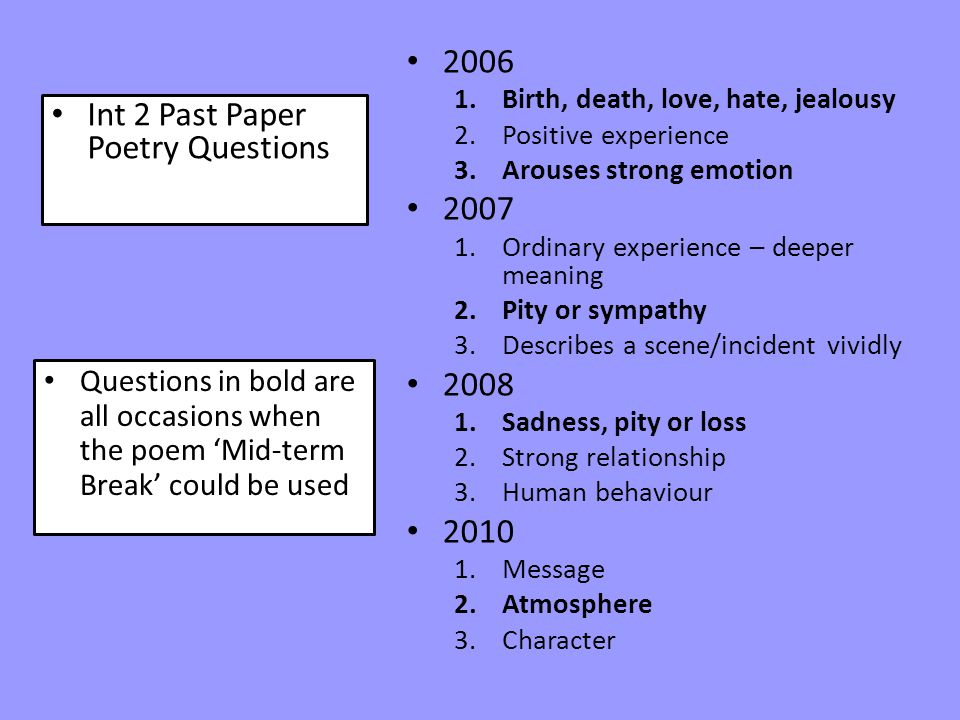 Int 2 Past Paper Poetry Questions