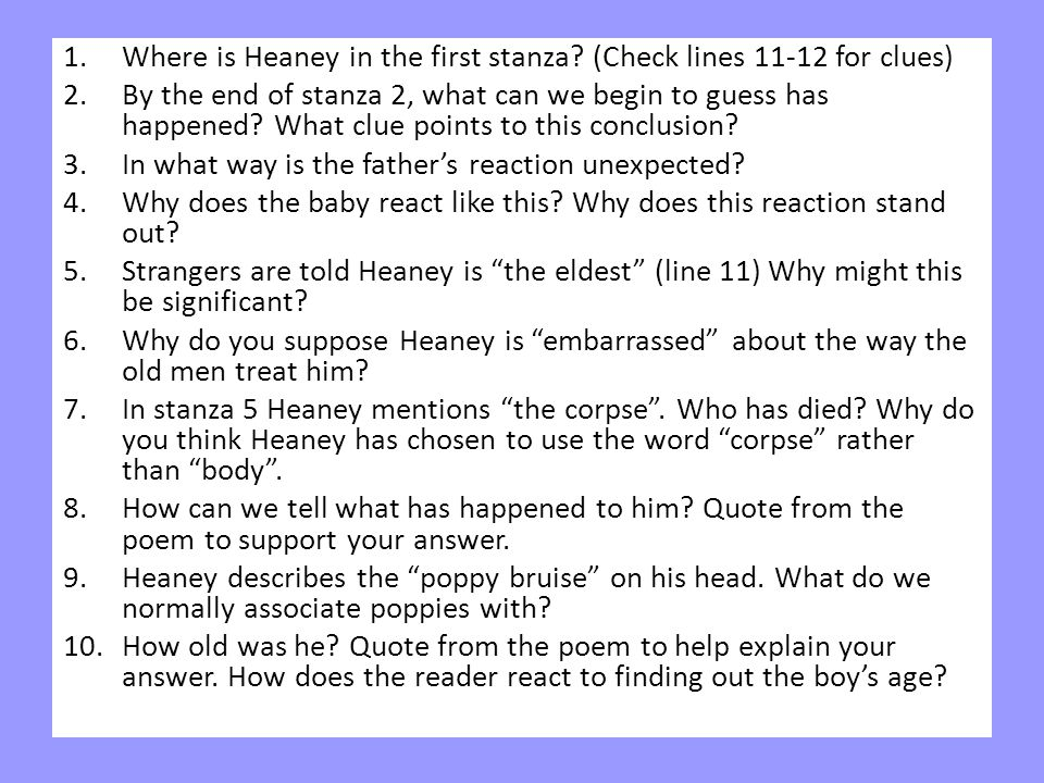 Where is Heaney in the first stanza (Check lines 11-12 for clues)