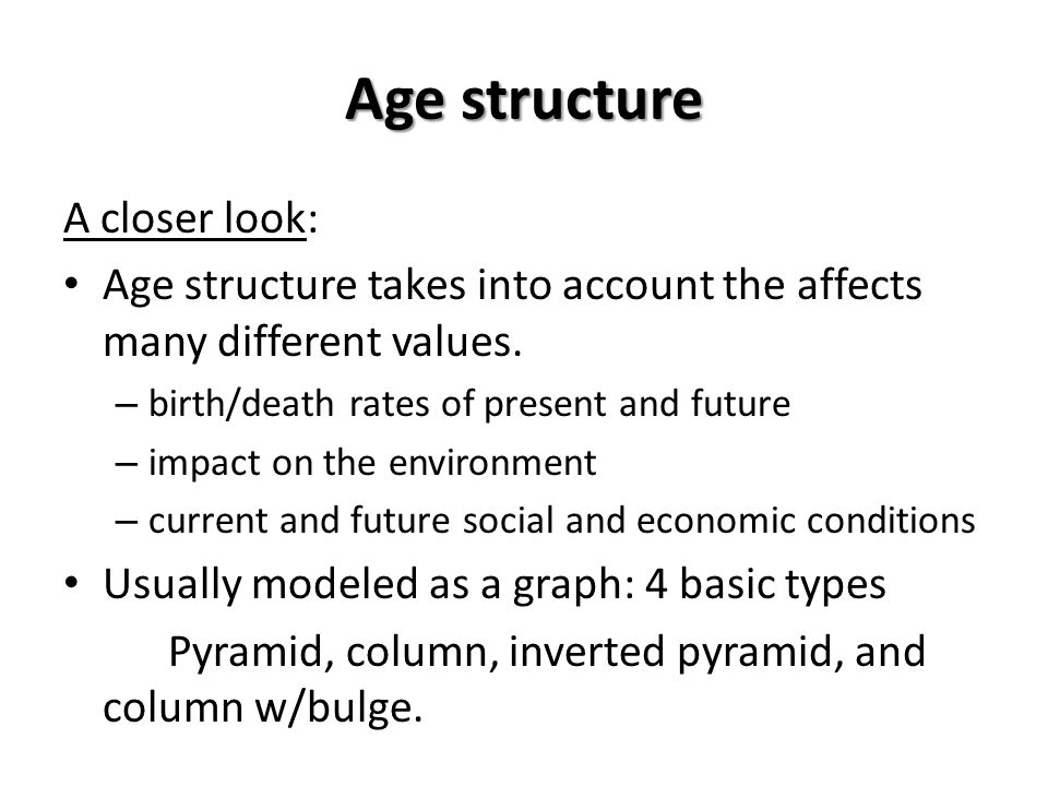 Age structure A closer look: