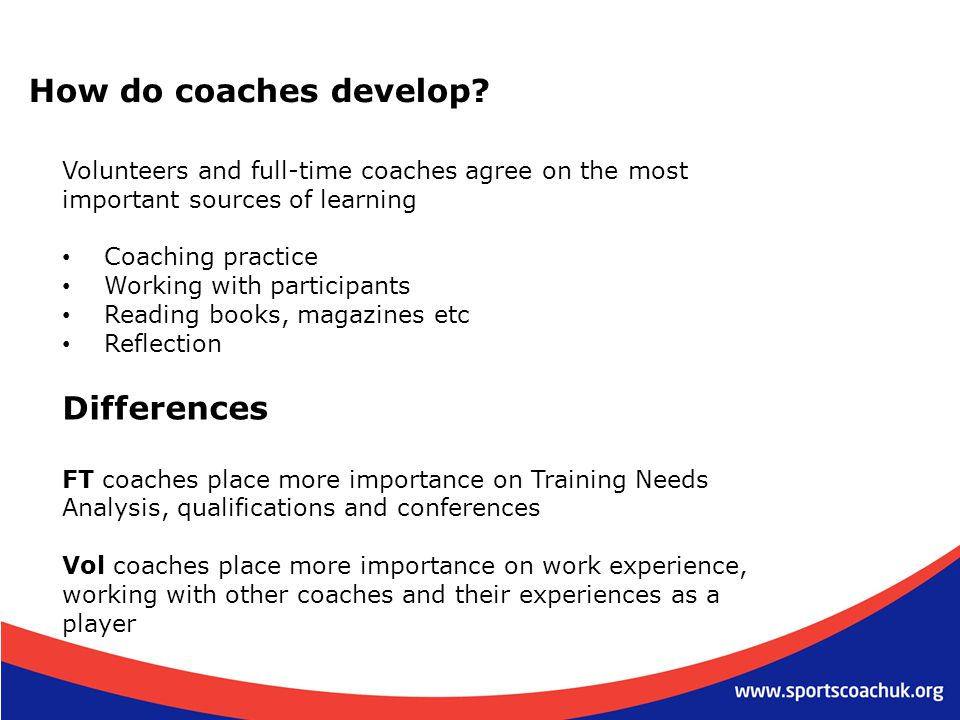 How do coaches develop Differences
