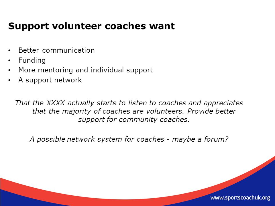 A possible network system for coaches - maybe a forum