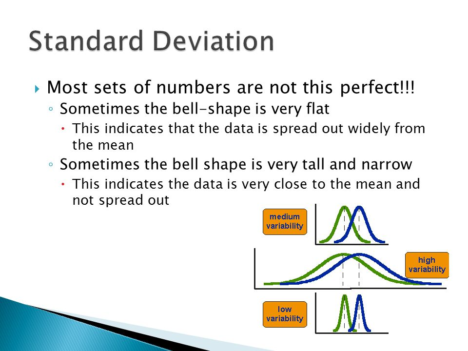 Standard Deviation Most sets of numbers are not this perfect!!!