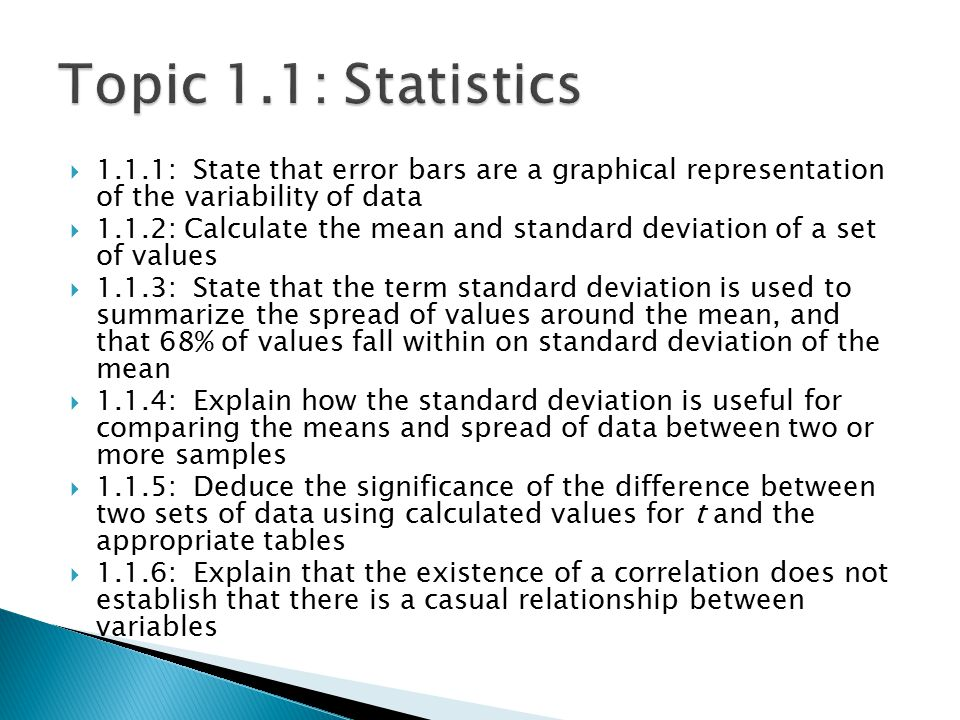 Topic 1.1: Statistics 1.1.1: State that error bars are a graphical representation of the variability of data.