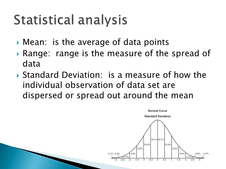 Statistical analysis Mean: is the average of data points