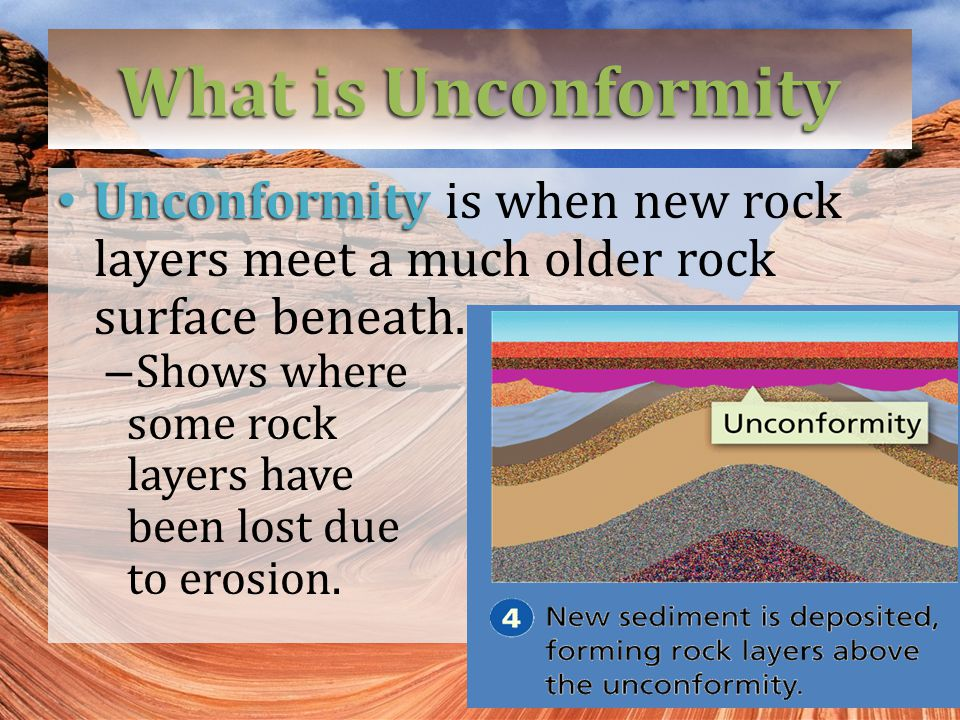 What is Unconformity Unconformity is when new rock layers meet a much older rock surface beneath. Shows where.