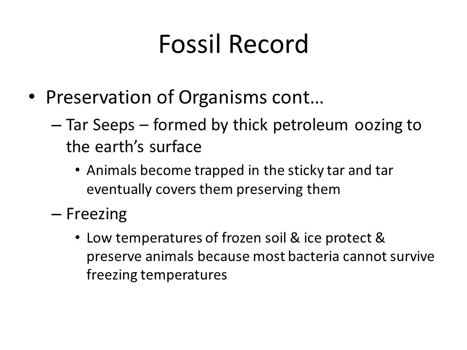 Fossil Record Preservation of Organisms cont…