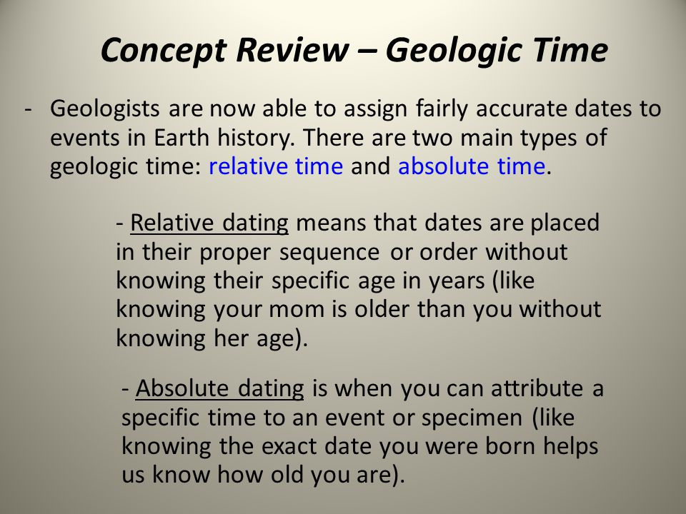 Concept Review – Geologic Time