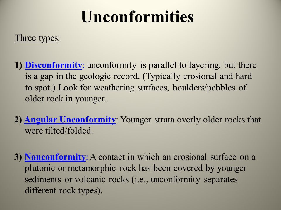 Unconformities Three types: