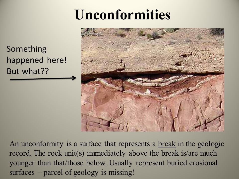 Unconformities Something happened here! But what