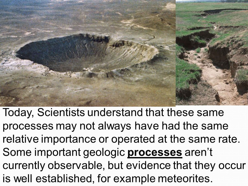 Today, Scientists understand that these same processes may not always have had the same relative importance or operated at the same rate.