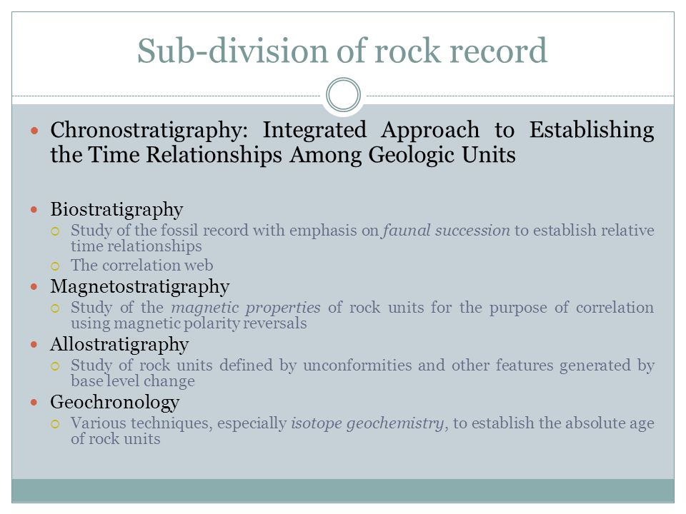 Sub-division of rock record