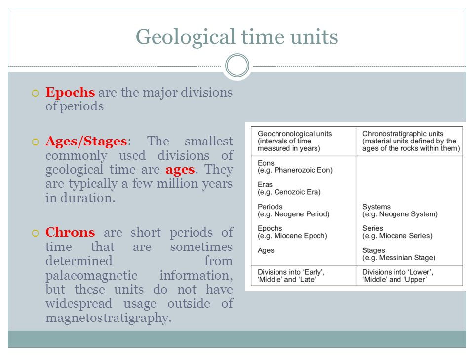 Geological time units Epochs are the major divisions of periods