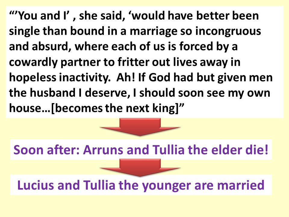 Soon after: Arruns and Tullia the elder die!