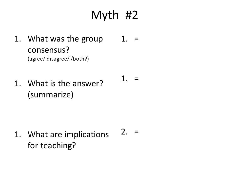Myth #2 What was the group consensus (agree/ disagree/ /both )
