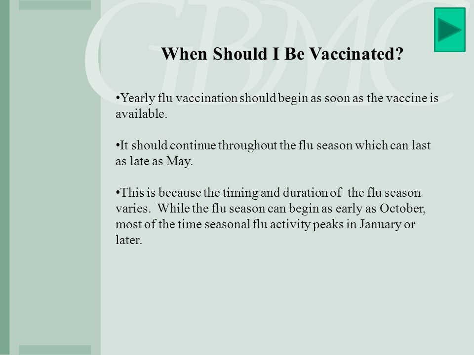 When Should I Be Vaccinated