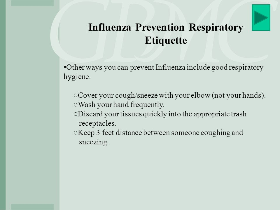 Influenza Prevention Respiratory Etiquette