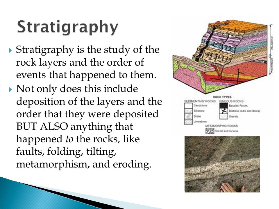 Stratigraphy Stratigraphy is the study of the rock layers and the order of events that happened to them.