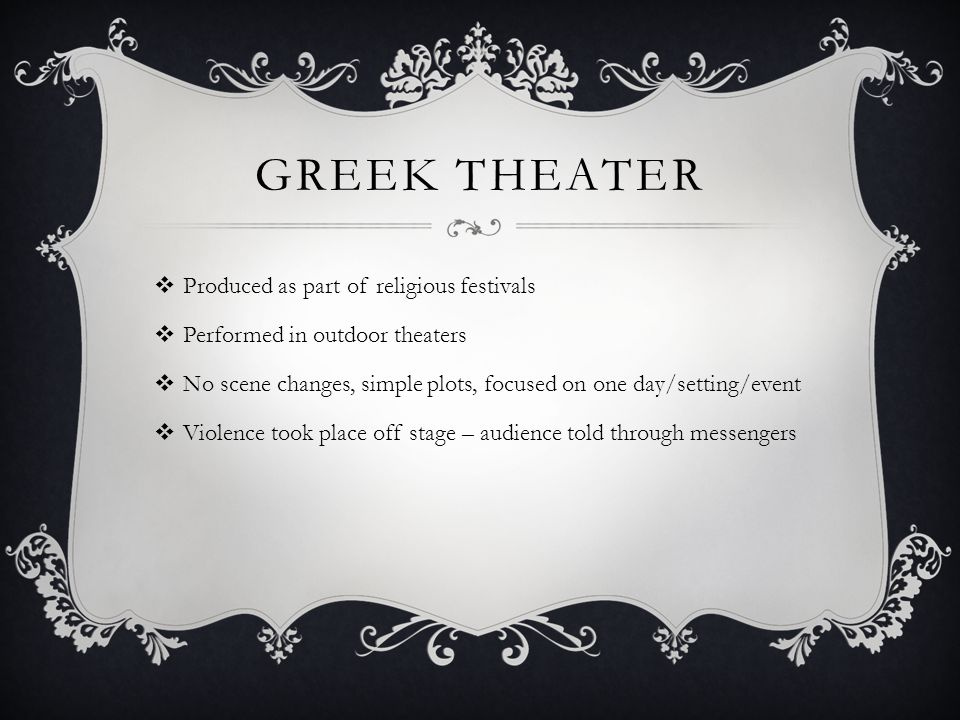 Greek Theater Produced as part of religious festivals