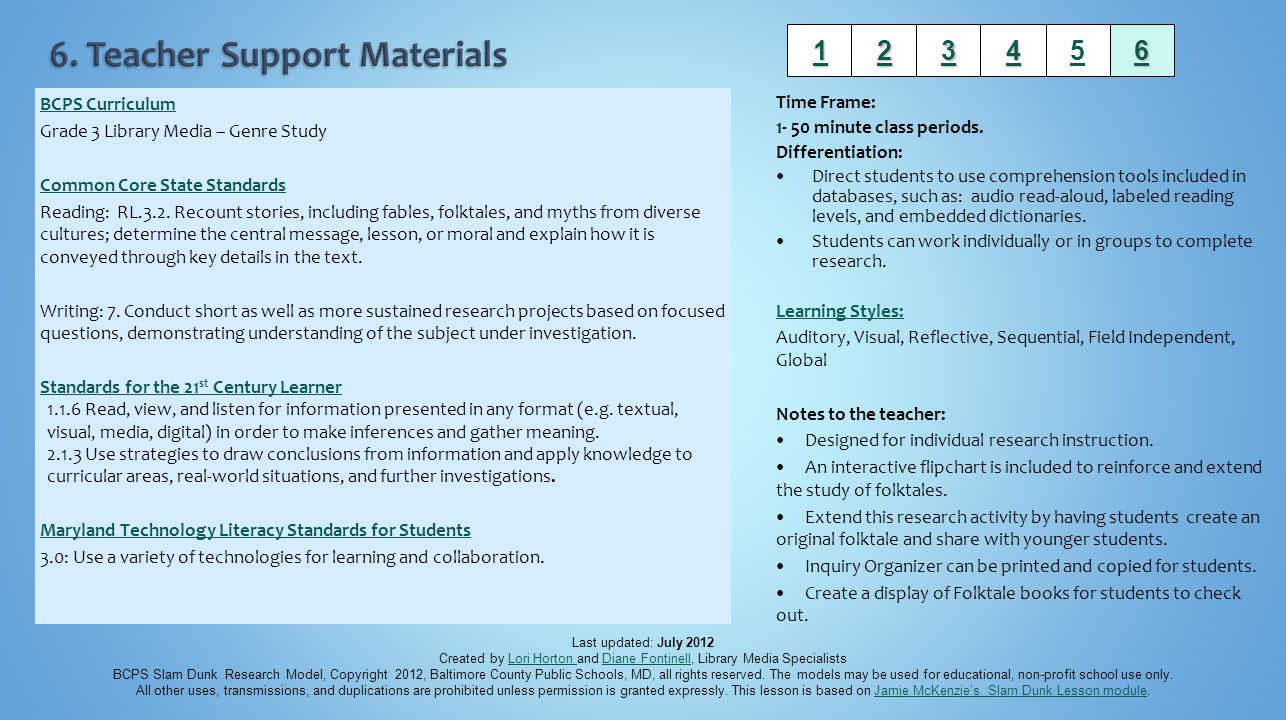 6. Teacher Support Materials