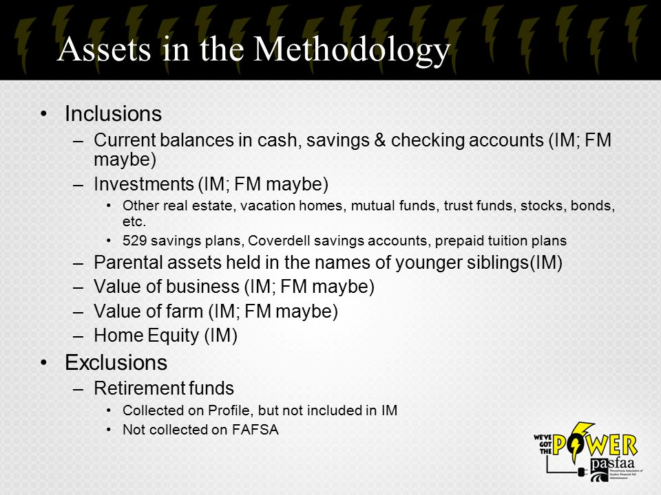 Assets in the Methodology