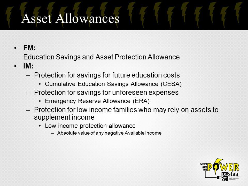 Asset Allowances FM: Education Savings and Asset Protection Allowance