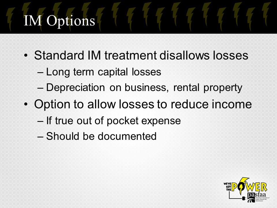 IM Options Standard IM treatment disallows losses
