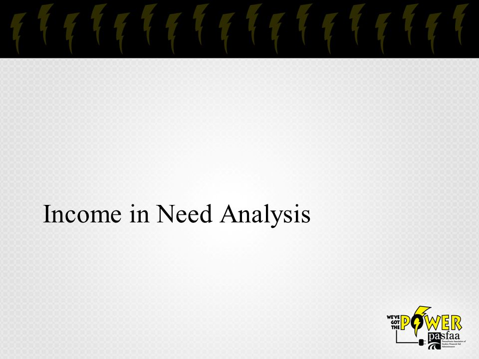 Income in Need Analysis