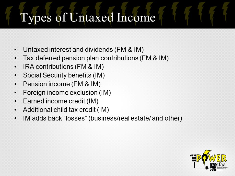 Types of Untaxed Income