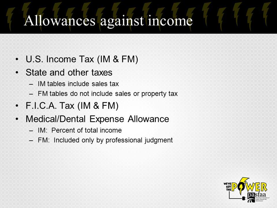 Allowances against income