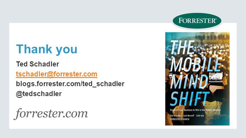 Ted Schadler tschadler@forrester.com blogs.forrester.com/ted_schadler @tedschadler
