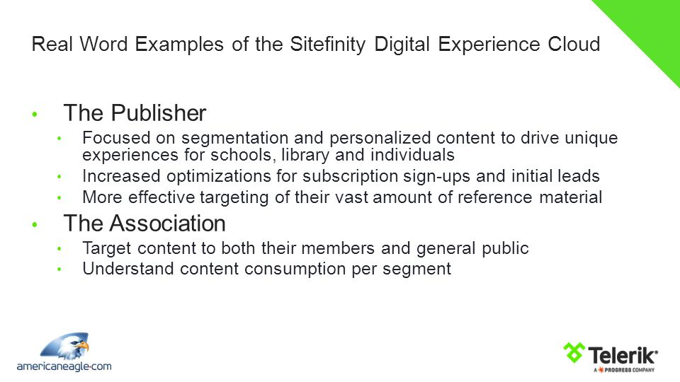 Real Word Examples of the Sitefinity Digital Experience Cloud